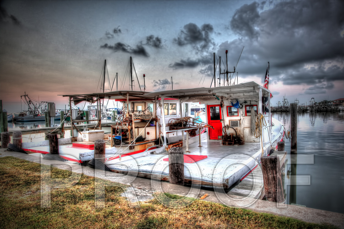 """Fulton Harbor Twins"", HDR, ""Fulton, Texas"", ""shrimp boats"", landscape, Fulton, coastal, red"